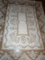"Vintage Quaker Lace Ivory Tablecloth with Roses 79"" x 60"""