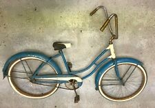 Blue Columbia step-thru bicycle with complete fenders and high-rise bar