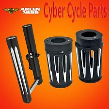 Arlen Ness Black Deep Cut Hot Legs & Fork Boots, Dual Rotor set up 2014-up