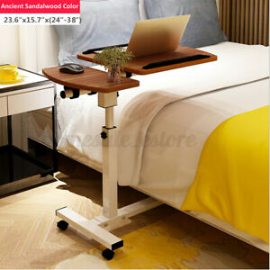 Rolling Height Angle Adjustable Laptop Desk Overbed Sofa Food Tray Table Stand