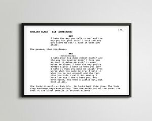 """10 Things I Hate About You - Screenplay POSTER! (up to 24"""" x 36"""") - Art - Movie"""