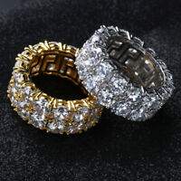 Mens Hip Hop Ring 14K Gold Silver Plated Iced Out CZ Lab Wedding Bling Rings