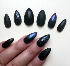 Hand Painted False Nails STILETTO (Or Any) Witch Claws HALLOWEEN Black Purple