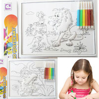 3D Kids Colouring Activity Poster Art Drawing Sketch Pens Fun Wall Mount School