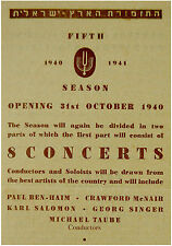1940 Palestine ORCHESTRA Concert PROGRAM FLYER Israel CONDUCTORS SOLOISTS PIECES
