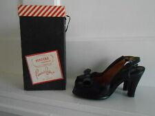 Superb Vintage 1940's Pandora Black Peep Toe Platform Pumps sz 8.5 A Rare