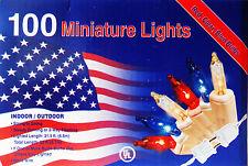 4TH OF JULY.MINI LIGHTS.100CT 22FT.PATRIOTIC DECOR.RED CLR BLUE.SMART BULB TECH