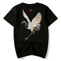 Mens Japanese Pattern Embroidery T-Shirt Sukajan Tee Crane Black White Plus Size