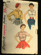 Vintage 1950s Ladies Simplicity Sleeveless Shirt Blouse Top Sewing Pattern #4256
