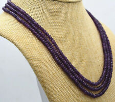 "Handmade Natural 3 Rows 2X4mm Faceted Amethyst Beads Necklace 18-19.5""AAA"