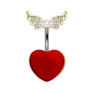 Red Heart Navel Ring with Soaring Gold-Plated Gemmed CZ Wings and Pearl B147