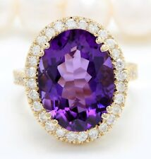 12.90 Quilate Natural Morado Amatista y Diamantes en 14K Sólido Anillo Oro