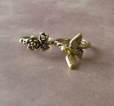 2 Finger Hummingbird Flowers Double Finger Ring Brass Knuckle Style Ring Women