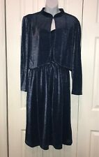 Vintage 1980s Nu Mode Toronto Sparkly Blue Tank Dress Bolero Jacket Set