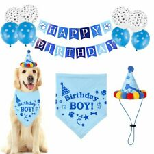 Pet Dog Birthday Party Supplies Bandana Hat Happy Birthday Banner Balloons Set