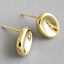 Elegant 18K Gold Geometrisch Oval Stud Ohrringe Für Frauen Echt 925er Schmuck