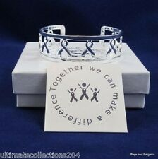 Cancer Disease Generic Support Awareness Love CUFF Silver Ribbon Bracelet