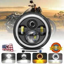 DOT 7 inch Round LED Headlight Halo HI/LO Motorcycle Fit For Harley Yamaha Honda