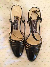 Vintage Chaussures Givenchy Paris Black Patent Leather Slingbacks w/ Repair - 6