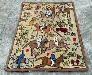 Vintage Handmade Aubusson Rug Needle Point Pictorial Wool Kilim Area Rug