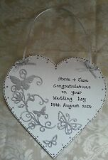 HANDMADE LARGE WEDDING/ENGAGEMENT PERSONALISED HEART KEEPSAKE