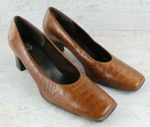 Life Stride Studio Croc Embossed Leather Square Toe Kitten Heel Pumps Size 8.5 N