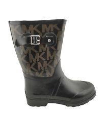 Michael Kors Mid Rain Boots MK Logo Womens Size 8M Black/ Brown