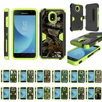 For Samsung Galaxy J3 (2018) Heavy Duty Armor Hybrid Holster Clip Case Green