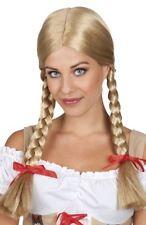 Womens Adults Blonde Heidi Wig Pigtails Plaits & Ribbons Bavaria Oktoberfest