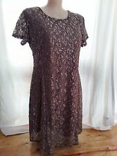Taupe LACE sparkle layer overlay dinner party short sleeve SHIFT dress 18 NEW