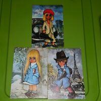 3 x Michel Thomas Big Eyed Children 1968 Published by Krisarts postcards
