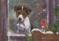 Jack Russell Robin Dog Cute Puppy Painting Christmas Xmas Card