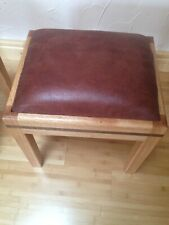 REAL WOODEN custom usa  OAK+ Walnut Brown tan  Ottoman pouf footstools