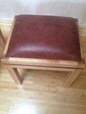 REAL WOODEN custom usa  OAK+ Walnut Brown tan  Ottomanpouf footstools