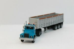 N Scale custom painted 3 D printed Truck Cab (MK) Turquoise and Coal Trailer