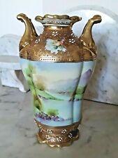 New listing Nippon Antique Porcelain Hand Painted Vase W/Beading & Mt. Fuji
