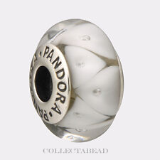 Authentic Pandora Sterling Silver Murano White Looking Glass Bead 790921