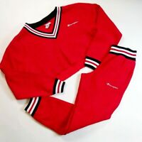 CHAMPION women 100% AUTHENTIC SIZE Medium 2P SET half sweater and pants red