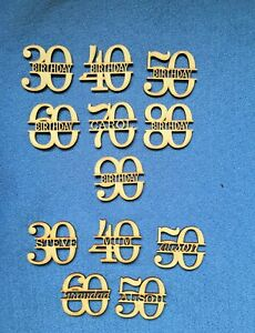 Wooden MDF Personalised Birthday Celebration Anniversary Numbers  blank craft