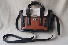 3.1 Phillip Lim Mini Pashli Satchel Color Blocked White Black Brown Tan Leather