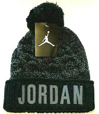 NIKE Jordan Jumpman Cable Knit Pom Beanie Youth Boys Hat Black / Gray Size 8/20