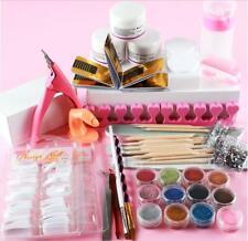 Full Acrylic Powder Nail Art Tool Starter Kit-Set Nail Tips Brush File Form DIY