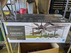 """Fanimation Kindred 60"""" Indoor/Outdoor 12 Blade Ceiling Fan Greige LP8543LGR"""