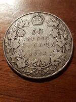 ➡➡1914 Canada HALF DOLLAR 50 Cents 80% Silver Scarcer Key Date
