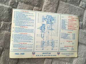 AUSTIN A90 A95 A105   FOR 1955- 1959.   FINA LUBRICATION CHART