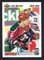 John MacLean #169 signed autograph auto 1991-92 Upper Deck Hockey Card