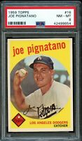 1959 Topps BB Card # 16 Joe Pignatano Los Angeles Dodgers PSA NM-MT 8 !!