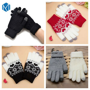 Ladies Winter Pattern Touch Screen Knitted Gloves Thermal 2 Layer High Quality