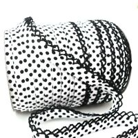 BY THE 25M ROLL - WHITE WITH DOT - PICOT LACE EDGE BIAS BINDING spot trim folded