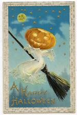 Halloween Clapsaddle  Ghosts JOL on Black Cat Facing Left
